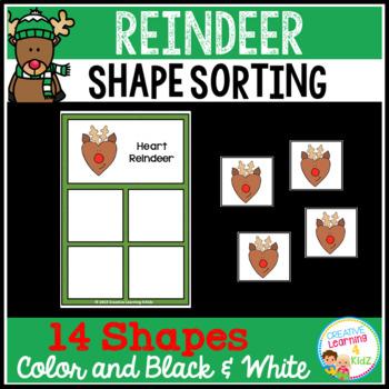 Shape Sorting Mats: Reindeer Christmas