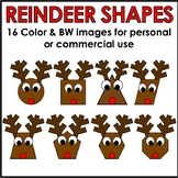 Reindeer Shapes Clipart Color & BW Personal or Commercial Use