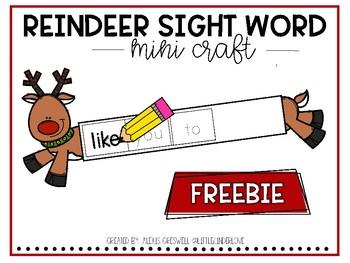 Reindeer Sight Word Craft Freebie