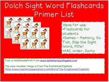 Reindeer Sight Word Flashcards - Dolch Pre-Primer List Through Second Grade