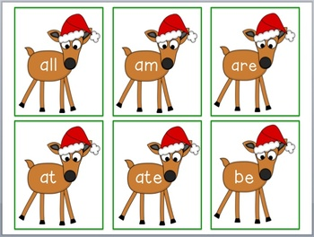 Reindeer Sight Word Flashcards - Dolch Primer List