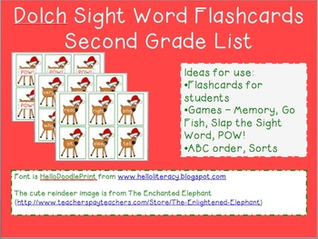 Reindeer Sight Word Flashcards - Dolch Second Grade List