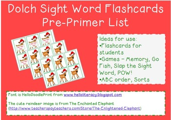 Reindeer Sight Word Flashcards from the Dolch Pre-Primer List