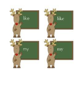 Reindeer Sight Word Matching Center