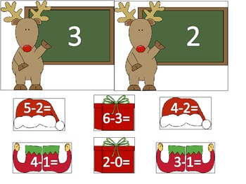Reindeer Subtraction Math Center Activity