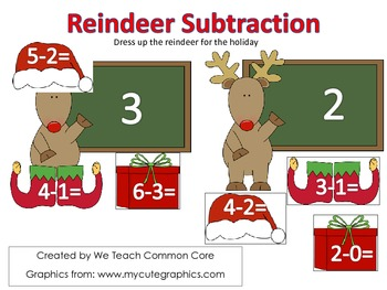Reindeer Subtraction Math Center Activity