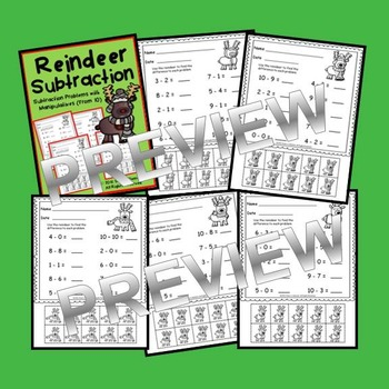 Reindeer Subtraction with Manipulatives (from 10)