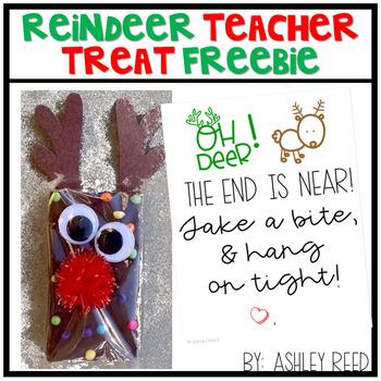Reindeer Teacher Treat Tag - a FREEBIE