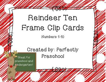 Reindeer Ten Frame Clip Cards