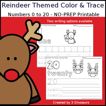 Reindeer Themed Number Color and Trace