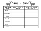 Reindeer Unit Words to Know Vocabulary Sheet for The Wild Christmas Reindeer