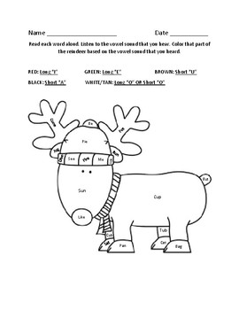 Reindeer Word Work Coloring Sheet with Short and Long Vowel Sounds