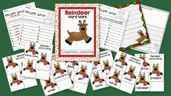 Reindeer Word Work - Learning Center - Christmas