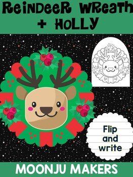 Reindeer Wreath + Christmas Holly - Moonju Makers for Activity, Craft, Decor