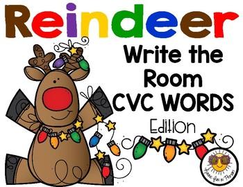 Reindeer Write the Room - CVC Words Edition