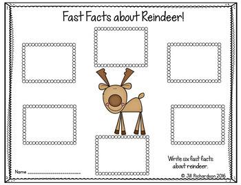 Reindeer Writing Flap Books! Christmas ESL
