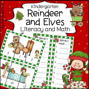 Christmas Reindeer and Elves in Kindergarten Literacy and Math Activities
