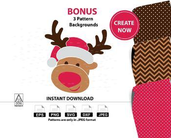 Reindeer clipart,christmas deer instant download svg, santa hat,Xmas Clipart
