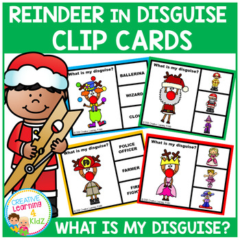 Reindeer in Disguise Clip Cards Christmas