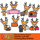 Reindeer routine activities, chore clipart / planner sticker clip art
