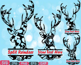 Reindeer split deer Jungle Animal mascot SVG school Clipart santa Christmas 406s