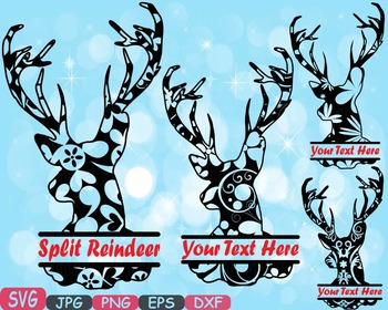 Reindeer split deer Jungle Animal mascot SVG school Clipart santa Christmas 406s
