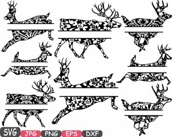 Reindeer split deer Jungle Animal mascot SVG school Clipart santa Christmas 409s