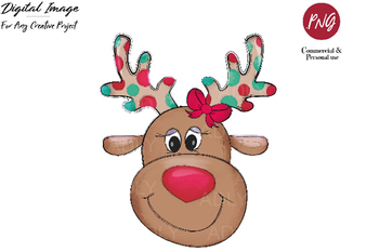 Reindeer sublimation, Christmas clip art, cute boy reindeer with red nose, PNG,