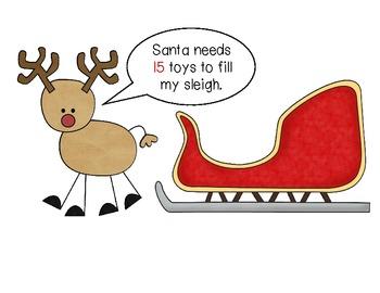 Reindeer/Santa Tricky Teens Ten Frame Game