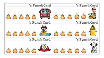 Reinforce positive Behavior! Punch Cards- Firefighter Theme