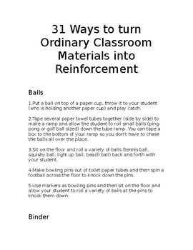 Reinforcement Development Ideas for students with Autism