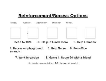 Reinforcement Menu