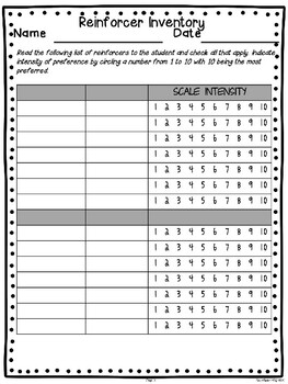 Reinforcer Inventory Sheets * SPECIAL EDUCATION