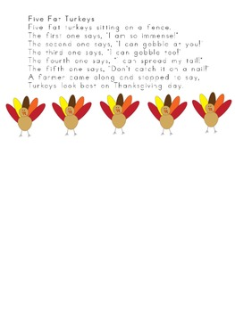 Rekenrek 5 Fat Turkeys-Thanksgiving student booklet