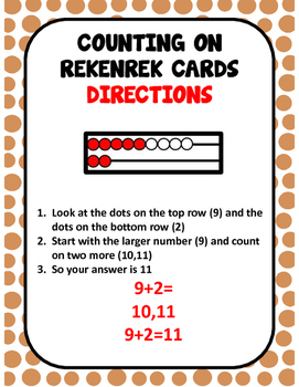 Counting On Addition Rekenrek Cards