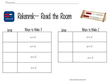 Rekenrek--Read the Room--Different Ways to make 2, 3, 4 and 5