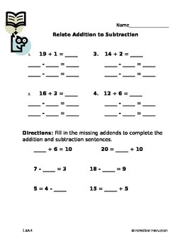 Relate Addition to Subtraction
