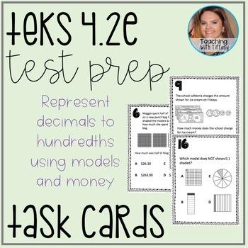 Relate Decimals TEKS 4.2E Task Cards