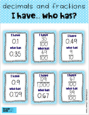 Relate Decimals and Fractions Game I Have Who Has 5.nbt.1