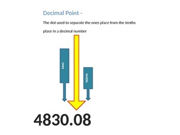 Relate Decimals to Fractions, Math TEKS 4.2G, Word Wall and Vocabulary Slides
