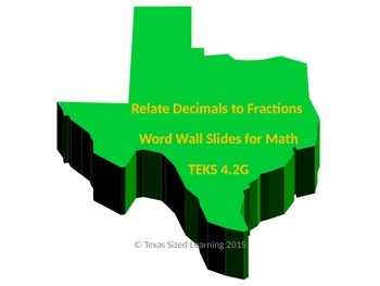 Relate Decimals to Fractions, New TEKS 4.2G, Word Wall and