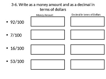 Relate Fractions, Decimals, and Money WITH additional activity!