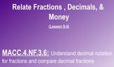 Relate Fractions & Decimals to Money