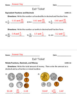 Relate Fractions and Decimals for Fourth Grade: Exit Tickets, Practice & More