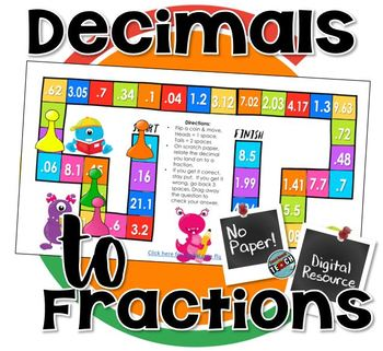 Relate Fractions to Decimals & Decimals to Fractions - Digital Board Game