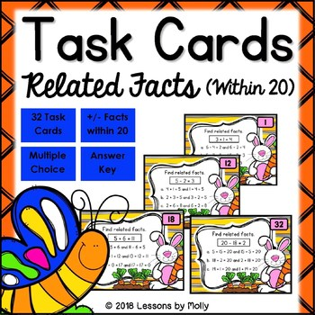 Related Addition Facts and Related Subtraction Facts within Twenty Task Cards