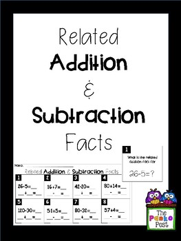 Related Addition & Subtraction Scoot/Task Cards/Write Around The Room