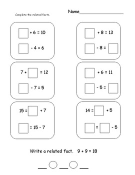 relate addition and subtraction teaching resources  teachers pay  related addition and subtraction facts related addition and subtraction  facts