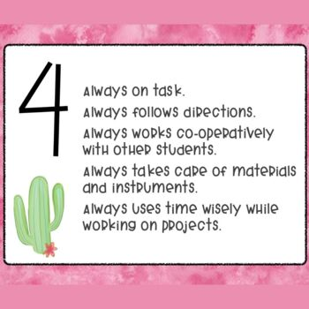 Related Arts Participation Rubric- Cactus Theme