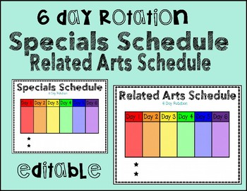 Related Arts or Specials Schedule {6 Day Rotation}